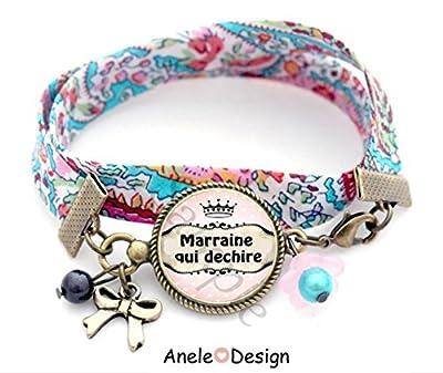 Bracelet liberty Cadeau pour marraine - rose noir pois