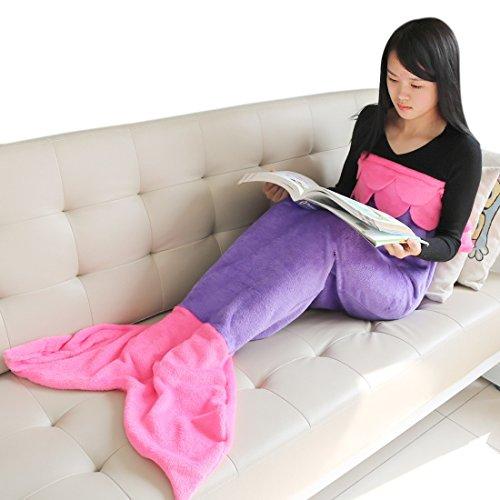 YiZYiF Handgemachte Meerjungfrau Decke Fleece Sofadecke Schlafsack Mermaid Blanket Kostüm für Kinder Mädchen (L, Lila + Dunkel Rosa)