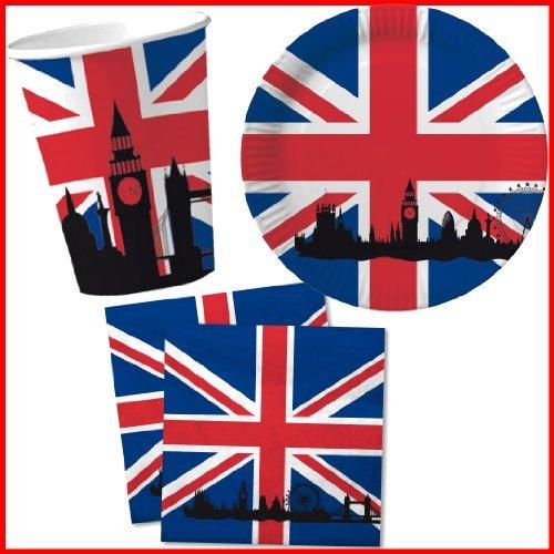 40 tlg. Set Pappteller + Servietten + Pappbecher GROSSBRITANNIEN & UNION JACK // Teller Becher Essen Pappe Geschirr Party Deko Dekoration Einweg UK GB England London Big Ben