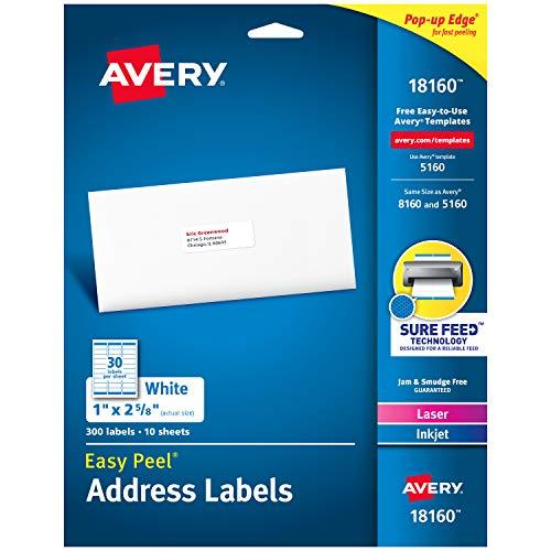 Avery Easy Peel Adress-Etiketten 2,5cm X 2-5/20,3cm Each weiß (Avery Adressetiketten Inkjet)