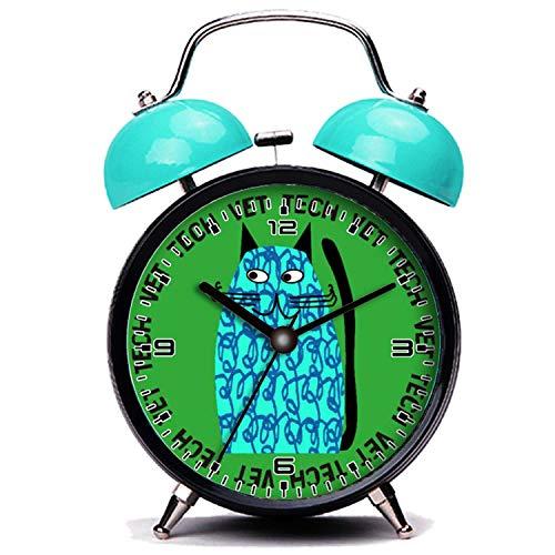 girlsight Blauer Wecker, Nette Katze Vet Tech Watch skurrile Katze Design Blau Twin Bell Wecker mit Nachtlicht