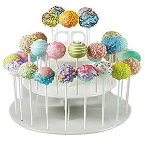 EKRON 3 Tier Plastic CakePop and CupCake Stand Lollipop Holder (Standard, White)