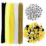 DOITEM 500 Pezzi Craft Pipe Cleaners Steli di ciniglia Bundle compresi 100 scovolini, 250 Pom Poms, 150 Wiggle Eyes, Nero e Giallo