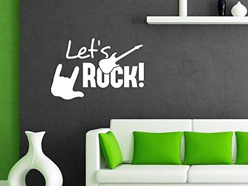 Über 30 Designs (Wandtattoo Wandaufkleber Musik Tanzen Lets Rock Rockhand Gitarre Wandgestaltung (45x30cm//070 schwarz))