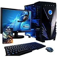 "Vibox Sniper Package 10XLW Gaming PC - with Warthunder Game Bundle, Windows 10, 21.5"" HD Monitor, Gamer Headset, Keyboard & Mouse Set (4GHz Intel i7 Quad Core Processor, Nvidia Geforce GTX 970 Graphics Card, 120GB Solid State Drive, 2TB Hard Drive, 32GB RAM, Vibox Tactician Blue LED Case)"