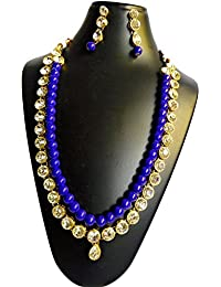Catalyst Fashion Sky Colour Pearl N Stone Necklace Set For Women/Jewellery Set With Earrings For Women & Girls