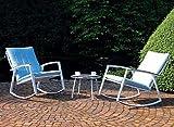 3er Sitzgruppe Scandic 2X Schaukelstuhl + Beistelltisch hellblau/Weiss mit Auflagen Loungegruppe Sitzgarnitur Garten Terasse Stahlgestell Outdoor