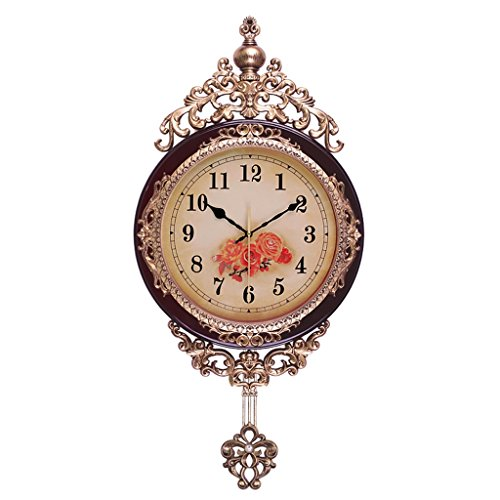 EDSH horloge murale 72 * 36cm Horloge européenne Swing Horloge Hall Horloge murale Mute Creative Quartz Horloge Grande horloge (Couleur : Marron)