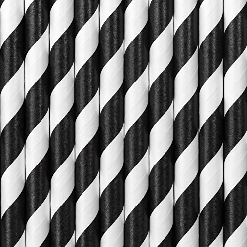 cama24com Trinkhalme Schwarz und Weiß gestreift Pappe Strohhalme 10 Stück Party Deko Tischdeko Palandi
