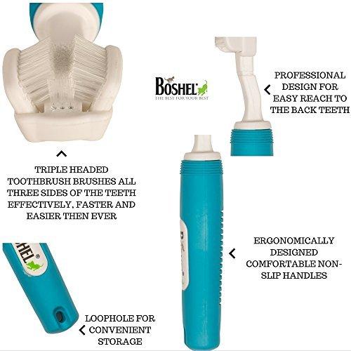 Hund Zahnbürste für Pet Zahnpflege von boshelâ ®–Triple Zahnbürste–empfohlen von Tierärzte Leitung und PET hundefriseuren–Perfekt für große Hunde–ergonomischer Griff Design für einfache Oral Care Pflege - 3