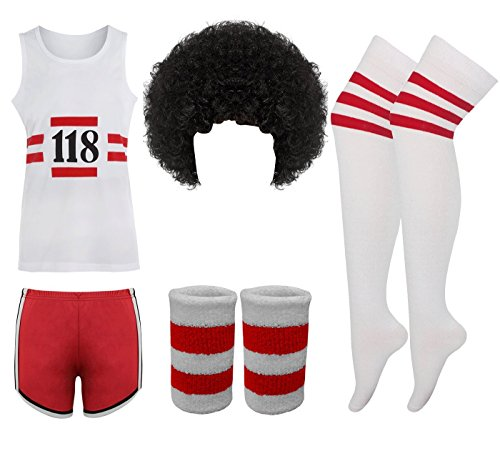 Eshopping Warehouse Herren Marathon 118 Kostüm Retro Weste Shorts Tash Socken Perücke Weste Kostüm Set, 118 V+S+WBand+Socks+Wig, - 118 Herren Kostüm