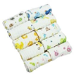 HBF 10 stk Baby BadetuchWaschlappen von hohersaugfähig Musselin Handtuch aus der 6 Schichten der hauptfreundlichen weichen Bio-Baumwolle für neugeborenes Baby Feuchttücher