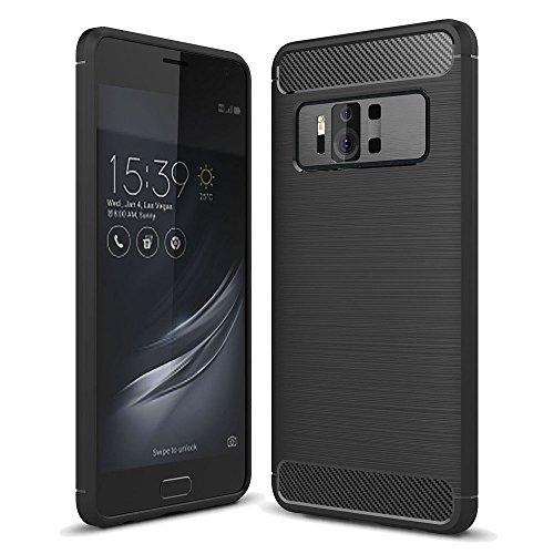 König-Shop ASUS Zenfone AR Bumper Case Hülle aus TPU Silikon | Sturzsichere Back-Cover Handyhülle in Schwarz | Im Carbon Look