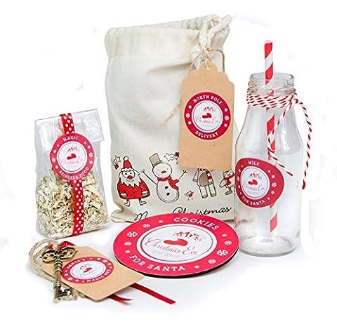 Christmas Eve Geschenk Tüte gefüllt mit, Magic Rentier Lebensmitteln, Magic Schlüssel, Christmas Cookie Untersetzer und Milch