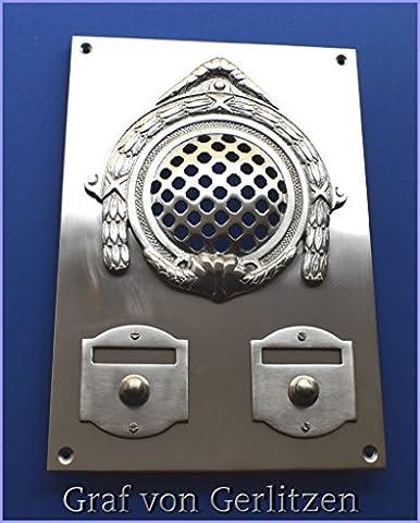 Graf von Gerlitzen Antik Nickel Tür Klingel 2 Gründerzeit Türklingel Klingelschild Klingelplatte Tür Sprechanlage Speek-2N