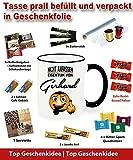 Namenstasse als Geschenk verpackt Ring Becher Schwarz Gerhard Tasse. Nicht anfassen.  Alle Namen verfügbar.