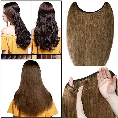 40cm-55cm extension capelli veri filo invisibile #6 castano - one piece con wire trasparante capelli umani naturali lisci lunghi 100% remy human hair no clip 40cm 60g