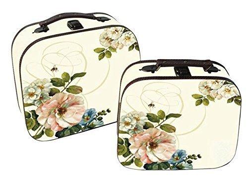 Superbe ensemble de 2 Valises Vintage Motif Floral boîtes de rangement.