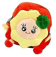 Bigood Girl Sunflower Backpack Short plush cute cartoon Student Bag Red
