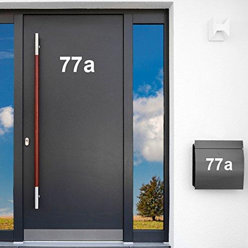 Wandaro W3396 Wandtattoo selbstklebende Beschriftung Hausnummer I weiß Höhe 17 cm Zeichen 0 I Zahlen Buchstaben Ziffern Tür (Nummer Buchstaben Wandtattoos Und)