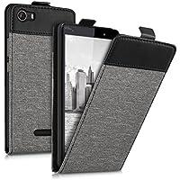 kwmobile Funda para Wiko Fever 4G - Flip Case para móvil en cuero sintético y tela - Cover plegable gris negro
