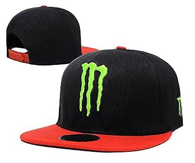 Unisex Monster Energy Einstellbare Hip Hop Sport Fans Hut Hysteresen Baseballmütze (schwarz, grün-Logo, rot Rand)
