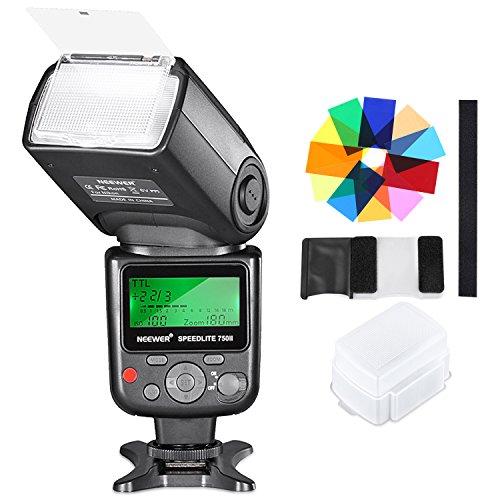 Neewer 750II TTL Blitz Speedlite Kit mit Hart Diffusor, 12 Farbfilter für Nikon D7200 D7100 D7000 D5500 D5300 D5200 D5100 D5000 D3300 D3200 und andere Nikon DSLR-Kameras