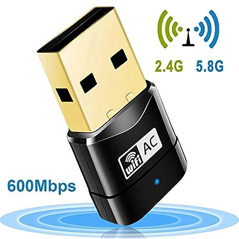 Wlan Stick, AC600 Dual Band 2.4 G/5 G Wireless Network USB WiFi Adapter Dongle für PC Desktop Laptop Tablet, Unterstützt Win 10/8/7/Vista/XP/2000, Mac OS (Laptops Desktop-computer)