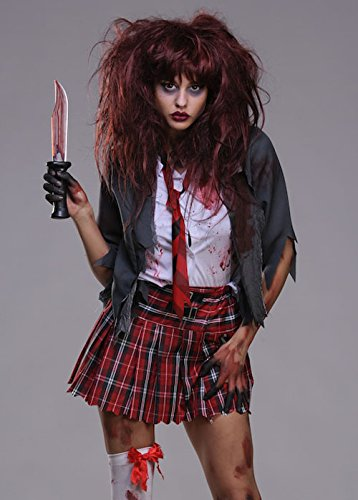 Frauen Halloween Zombie Schulmädchen Kostüm Small (UK (Zombie Schulmädchen)
