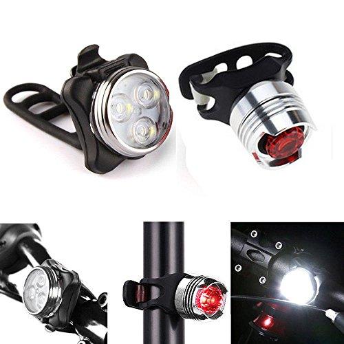 TriLance LED Fahrradbeleuchtung Fahrradlicht mit 3 Lichtmodi,Radfahren Fahrrad Fahrrad 3 LED Kopf Vorne Mit Rücklicht Lampe Aufladbare Fahrradlichter Fahrradlampe