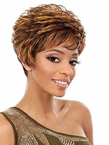 QQHair Kurze lockige Frauen Perücken Ombre Blonde Brown Wave Haar Perücken Hochtemperatur Faser Synthetik Haar Mit Cap Perücken