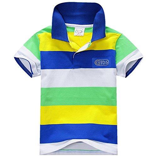 ESHOO scherzt Jungen-Mädchen-kurzes Hülsen-gestreiftes T-Shirt Polo-Hemden Sommer 1-7 Jahre