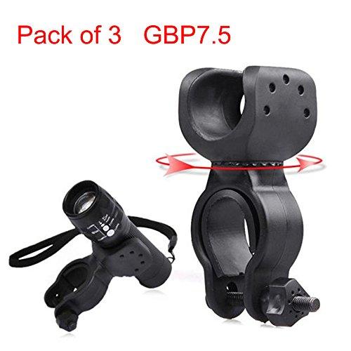 Fashion Gepäck 3 Stück (Taschenlampe Halterung, tianranrt Taschenlampe Clip Halterung Fahrrad Front Licht Halterung Bike Taschenlampe Halterung Halter 360° drehbar Clip Clamp, 3 Stück)