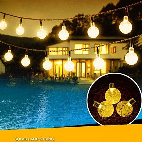 TurnRaise Guirnaldas de Luces Solar 30 LED 6M Luminosas Bolas de Cristal para Jardín Patio Exterior