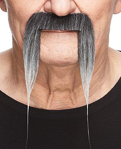 Mustaches Selbstklebende Fälscher Schnurrbart Neuheit Fu Manchu Falsch Gesichtsbehaarung Kostümzubehör für Erwachsene Salz und Pfeffer Farbe (Salz & Pfeffer Kostüm)