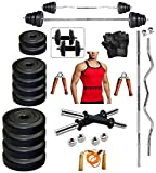 #9: Bodyfit 20 Kg Weight Set+ 5 Ft Rod + 3 Ft Curl Rod +Gym Accessories WITH GYM VEST(ASSORTED COLOR)