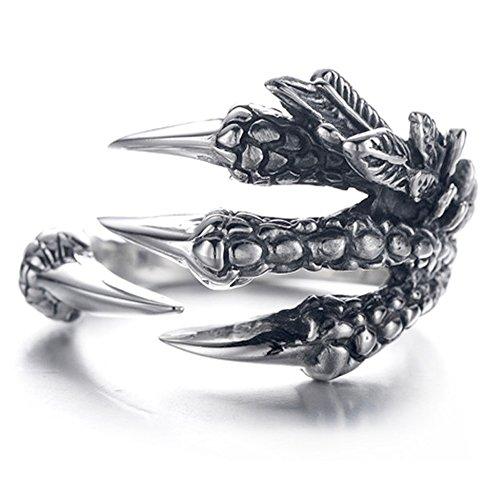 anillo anillo de la garra del dragón del acero inoxidable Anillo salvaje Alondra Hombres (A)