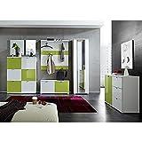 Komplett Garderoben Set, Flurgarderobe in Hochglanz weiß grün, Schuhschrank, Spiegel, Wandpaneele, Schuhbank, Kleiderschrank & Kommode, Made in Germany