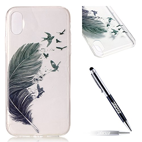Custodia Cover iPhone X Transparente iPhone X Case, JAWSEU Creativo Disegno Antiurto Corpeture Cristallo Chiaro Case per iPhone X Super Sottile Case Custodia Cover per iPhone X Protettiva Shock-Absorp Piuma Colorata