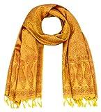 Maharanis Handgewebter Jacquard Seidenschal 100% Seide kräftiges goldgelb-tiefrot 55cm x 180cm