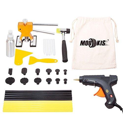 Mookis carrosserie dent outils de réparation, Kits de réparation Paintless dent avec pistolet à colle, 10bâtons de colle, 12Extracteur de colle, colle Pelle, marteau de réparation pour auto dent Remover