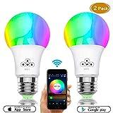 Smart LED Glühbirne, WiFi Glühbirnen 40W Äquivalent, Dimmbare RGBW Farbwechsel Licht mit APP Fernbedienung, E27 Wake Up Lichter Smart LED Glühbirne Kompatibel mit Alexa, Google Home & IFTTT