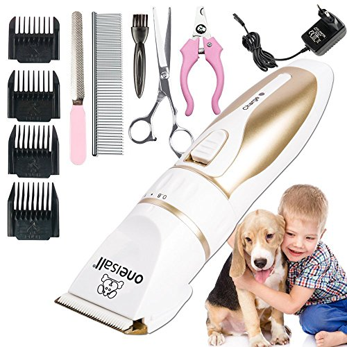 Oneisall Tierhaarschneider Haarschneidemaschine Haarschneider Schermaschine Hund und Katze Timmer Haustier Grooming Clipper Kits Elektrische Leise Tierhaarschneidemaschine