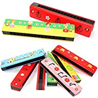 Ndier Ruiting 1pc Child Cartoon Wooden Harmonica Toy Color Aleatorio