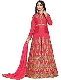 Ethnic Wings Women Poly Silk Anarkali Semi-Stitched Salwar Suit (EW&ER_ER10459_Pink_Free Size)