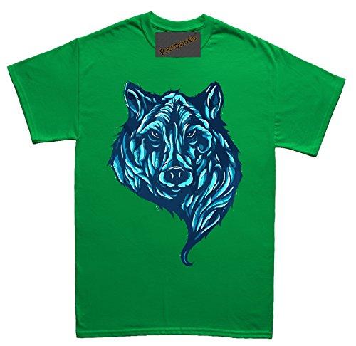 Renowned Blue Neon Wolf Unisex - Kinder T Shirt Grün