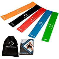 Resistance Loop Bands - Set of 5 Exercise Bands for Improving Mobility And Strength, Yoga, Pilates or for Injury Rehabilitation - Suitable for Women and Men - Made From Natural Latex Material