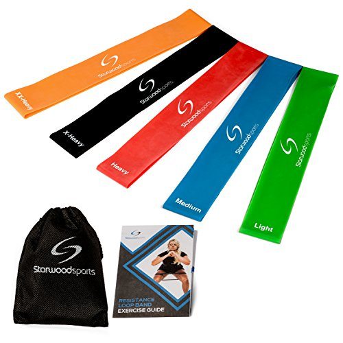 Starwood Sports ® Set de 5 Bandas de Resistencia - Unisex - para Yoga, Pilates o Rehabilitación - Mayor Fuerza y Movilidad - Látex Natural - Garantía de por Vida