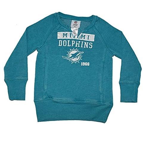 NFL Miami Dolphins Girls Athletic Glitter Sweatshirt (Vintage Look) M(7/8)