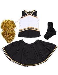 Athletic Motif Les Self personnalisés fer sur transfert Logo vierge avant pom-pom girl uniforme/Squad pom-pom girl Costume W/Slip N pompons Noir + Orange
